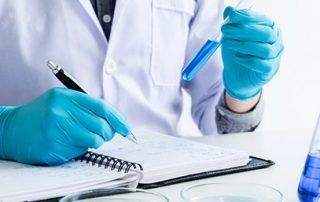 Scientist analyzing data